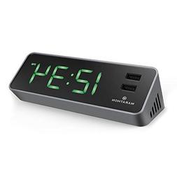 Marathon CL030055GG LED Alarm Clock with Two Fast Charging,