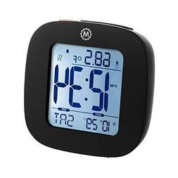MARATHON CL030058BK Compact Alarm Clock with Temperature and