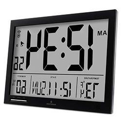 MARATHON CL030062BK Slim-Jumbo Atomic Digital Wall Clock wit