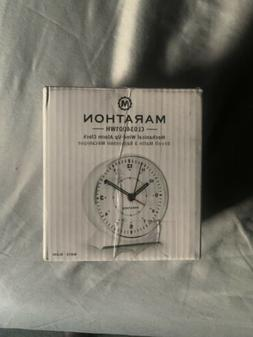 MARATHON CL034001WH Mechanical Wind-Up Alarm Clock White