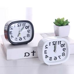 Mini Round/Square Small Analog Alarm Clock Bedroom Bedside T