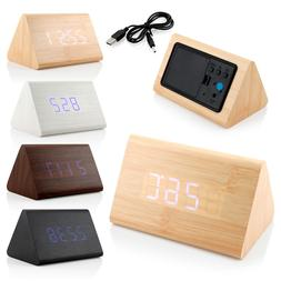 Classical Triangular Blue Digital LED Wood Wooden Desk Alarm