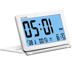 SESTP Digital Travel Clock with Blue Backlight Battery Opera