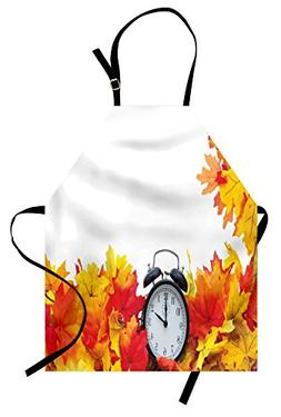 Ambesonne Clock Apron, Autumnal Leaves and an Alarm Clock Fa