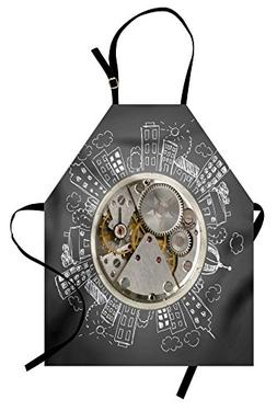 Ambesonne Clock Apron, an Alarm Clock Print with Buildings a