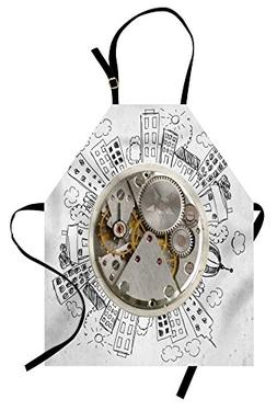 Ambesonne Clock Apron, an Alarm Clock with Clouds and Buildi