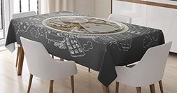 Ambesonne Clock Decor Tablecloth, an Alarm Clock Print with
