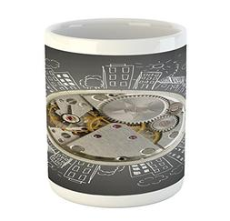 Ambesonne Clock Mug, an Alarm Clock Print with Buildings and