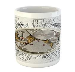Ambesonne Clock Mug, an Alarm Clock with Clouds and Building