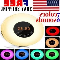 Digital Sunrise Alarm Clock Radio Wake Up Colorful Lights Sl