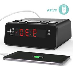 Clock Radios,FM Digital Alarm Clock Radio with USB Charger f