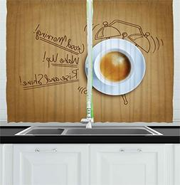 Ambesonne Coffee Decor Collection, Coffee and Alarm Clock wi