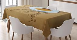 Coffee Decor Tablecloth by Ambesonne, Coffee and Alarm Clock