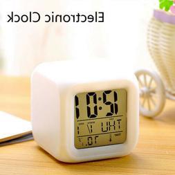Color Changing Night Light Alarm Cube Glowing Alarm Clock Ho