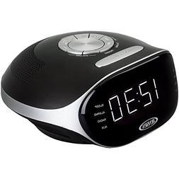 Jensen Compact Bluetooth AM/FM Dual Alarm Clock Radio with L