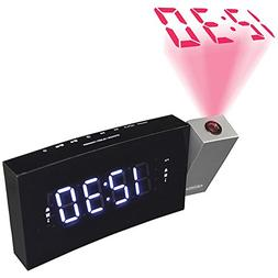 Jensen Compact Time Projection Dual Alarm Clock Radio with L