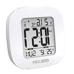 Cool Baldr White Mini Snooze Alarm Clocks Digital Calendar T