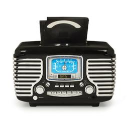 cr612d-bk corsair retro am/fm dual alarm clock radio with cd