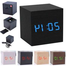cube wooden digital backlight led voice table