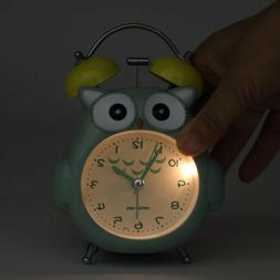 Cute Dual Non-Ticking Owl Alarm Clock for Kids& Girls Gift B