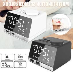 DC5V LED Wireless Bluetooth Speaker Alarm Clock FM Radio wit