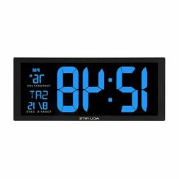 Decorative Blue Led Clock With Indoor Temperature For Home L