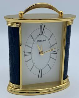 Seiko Desk And Table Alarm Carriage Clock Gold-tone Metal Ca