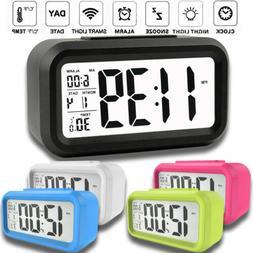 Desk Digital Alarm Clock Sensor Automatic Soft Light Snooze