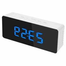 Desk Digital Time Calendar Weather Snooze Alarm Clock LED Ba