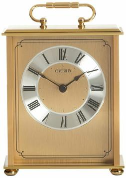 Seiko Desk and Table Carriage Clock Gold-Tone Solid Brass Ba