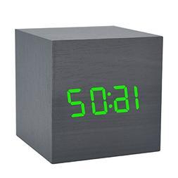 Wooden Alarm Clock LED Electronic Digital Calendar Desktop C