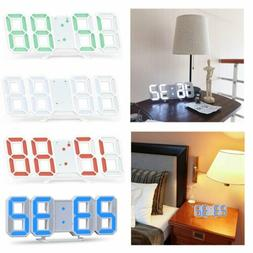 Digital 3D LED Wall Clock Alarm Modern Clock Snooze 12/24 Ho