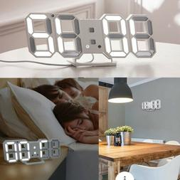 Digital 3D LED Wall Desk Clock Alarm Snooze Temperature Date