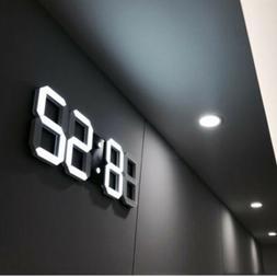 Digital 3D LED Wall/Desk Clock Snooze Alarm Big Digits Auto
