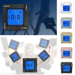 Digital 4-side Flip Square Alarm Clock Timekeeping Reminder