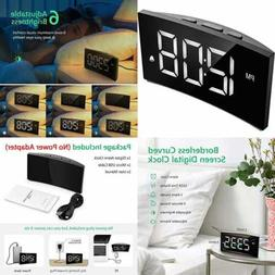 """Digital Alarm Clock 5"""" Curved Dimmable LED Screen For Kid Se"""