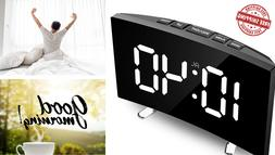 Digital Alarm Clock, 7 Inch Curved Dimmable LED Screen  Snoo