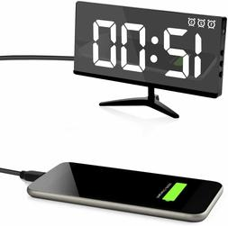 Digital Alarm Clock 7 LED Mirror Electronic Display With USB