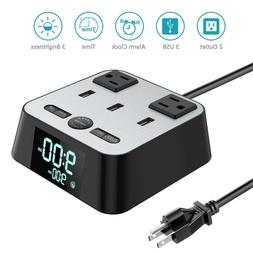 Digital Alarm Clock Charging Station with 3 USB Ports and 2
