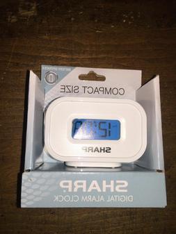 Sharp Digital Alarm Clock Compact SizeBattery Operated Inclu