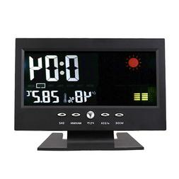 Digital Alarm Clock Desk Shelf LED Calendar Clock w/ Tempera