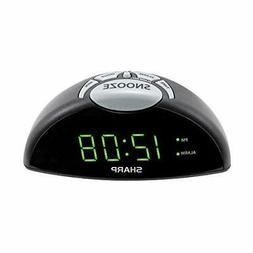 Sharp Digital Alarm Clock Easy to See Green LED Display Simp