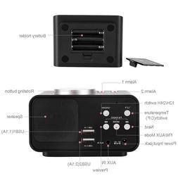 Digital Alarm Clock FM Radio Loud Alarm Clock for Heavy Slee