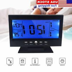 Digital Alarm Clock LCD Backlight Snooze Temperature Display
