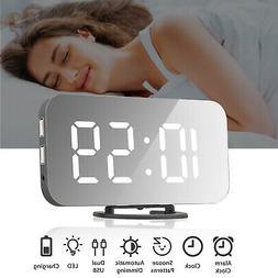 Digital Alarm Clock LED Display Portable Modern USB/Battery