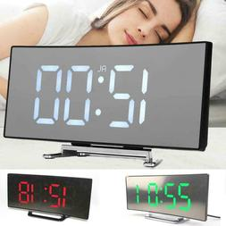 Digital Alarm Clock LED Mirror Display Temperature Table Bed
