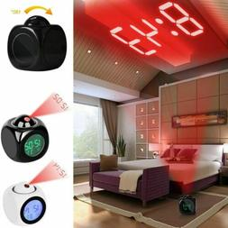 Digital Alarm Clock LED Wall/Ceiling Projection LCD Voice Ta