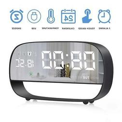 LLQ Digital Alarm Clock, Mirror Desk Clock, LED Clocks for B