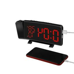 Digital Alarm Clock Projection Bedroom LED Dual Alarms SNOOZ