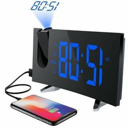 "Digital Alarm Clock Projection FM Radio 5"" Dimmable LED Proj"